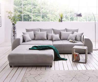 DELIFE Big-Sofa »Violetta«, Grau 310x135 cm inklusive Hocker und Kissen Big-Sofa