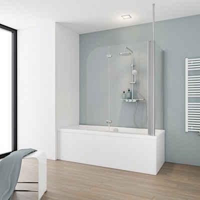 Schulte Badewannenaufsatz, Einscheibensicherheitsglas, (3 tlg), BxHxT: 114,5 x 140 x 70 cm, mit Deckenverstrebung