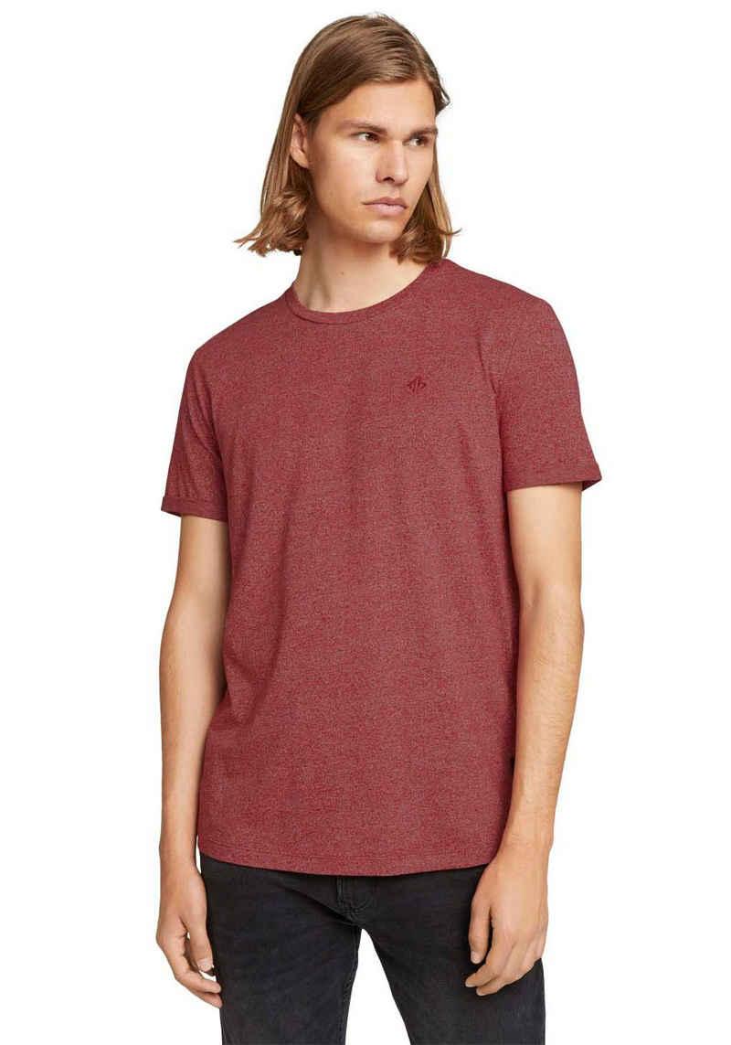 TOM TAILOR Denim T-Shirt melierte Optik