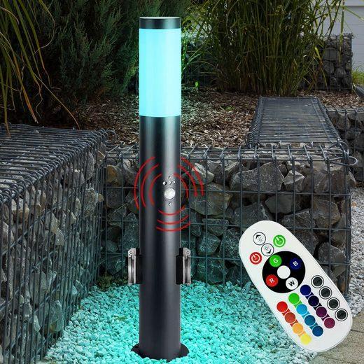 etc-shop LED Außen-Stehlampe, Außen Steh Lampe Bewegungsmelder Steckdosen FERNBEDIENUNG Leuchte im Set inkl. RGB LED Leuchtmittel