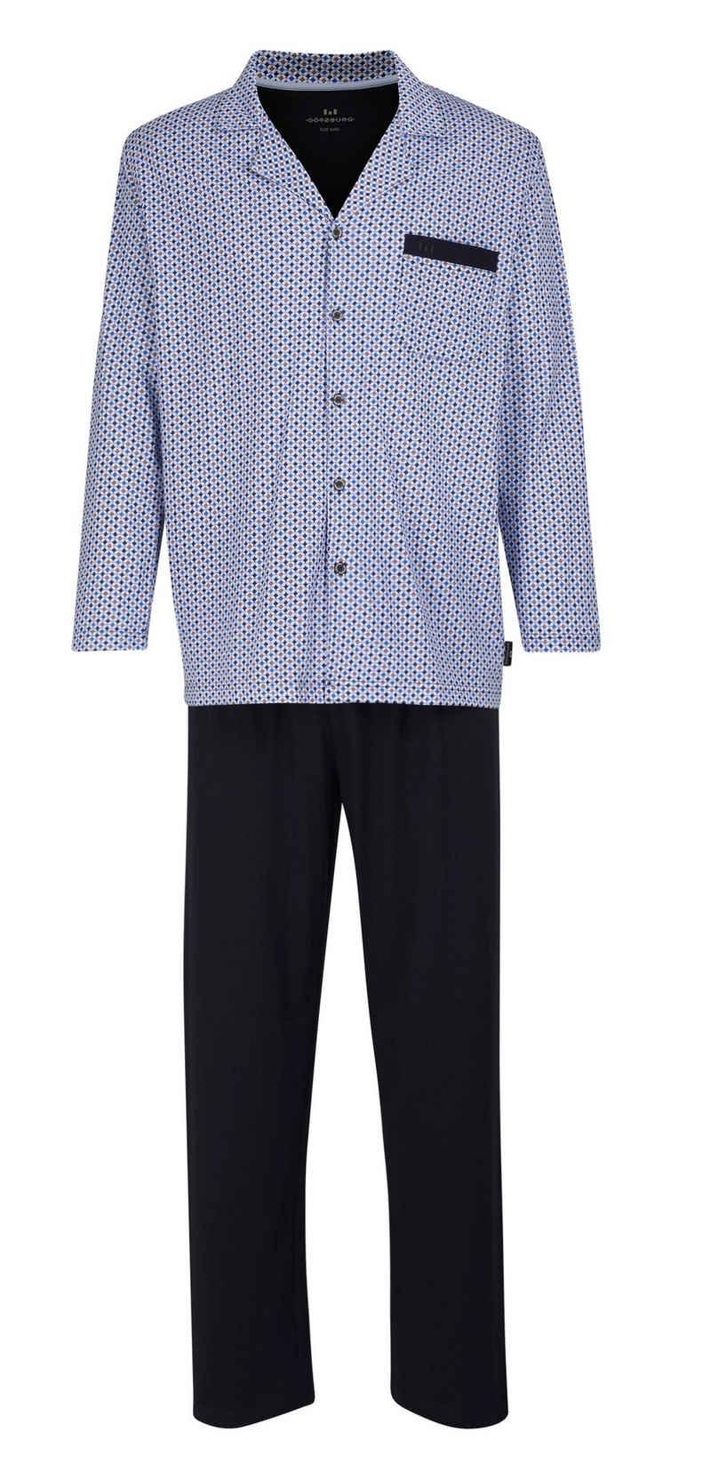 GÖTZBURG Pyjama »Götzburg Herren Jersey Pyjama« vorn geknöpft