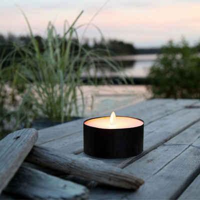 STAR TRADING LED-Kerze »XXL LED Teelicht gelbe LED H: 7cm D: 10cm Batteriebetrieb Timer Outdoor schwarz«