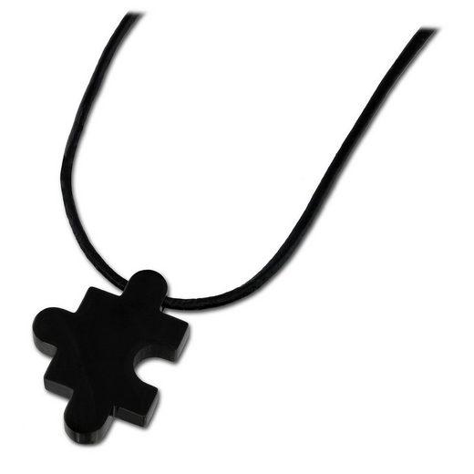 Amello Edelstahlkette »ESK022S Amello Puzzle Halskette silber schwarz« (Halsketten), Damen-Halskette (Puzzle) ca. 50cm + 5cm Verlängerung, Edelstahl (Stainless Steel), Farbe: silber, edelstahlfarben schwarz, glänzend