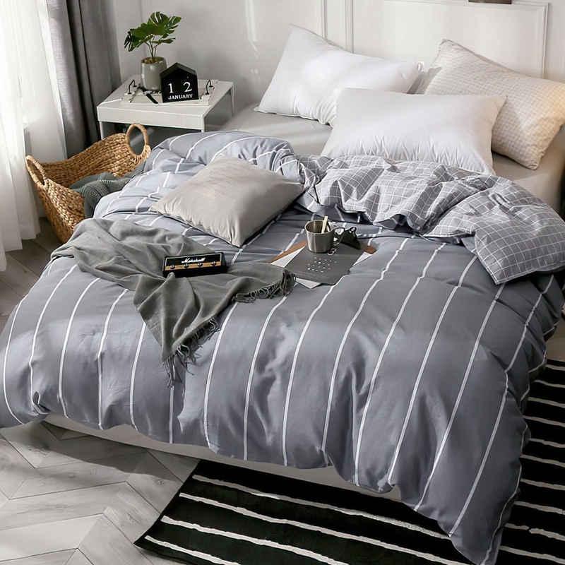Bettwäsche »STR«, KEAYOO, Baumwolle Grau Gestreift mit Reißverschluss
