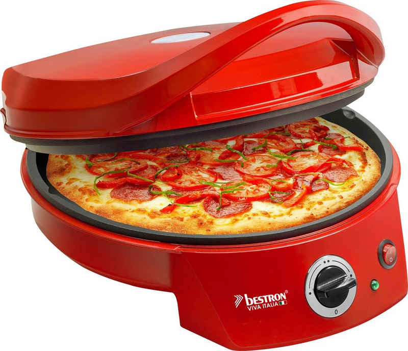 bestron Pizzaofen Viva Italia, Ober-/Unterhitze, Bis max. 180°C, 1800 Watt, Farbe: Rot