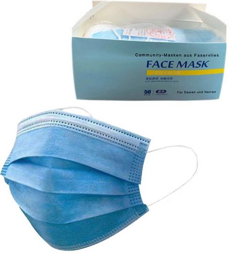Community-Masken, (Packung, 50-tlg), Einweg-Maske für Erwachsene