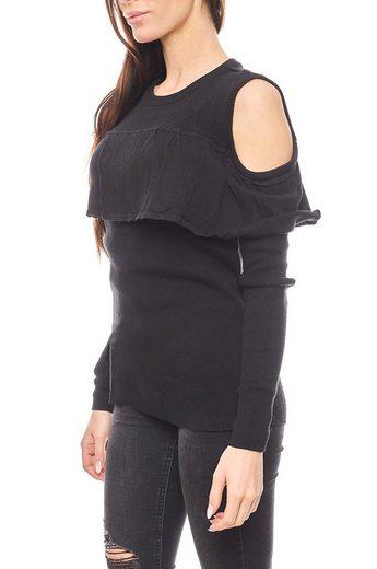 Vivance Rundhalspullover »vivance collection Pullover femininer Sweater Damen Volantpullover mit Cut-Outs Schwarz«