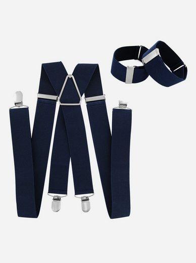 axy Hosenträger (Herren Hosenträger mit 1 Paar Ärmelhalter Set) 3,5cm Breit verstellbar und elastisch Hemd Ärmelband