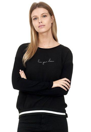 Decay Langarmshirt »Blusenshirt« mit Gestreiften Rippbündchen an Saum