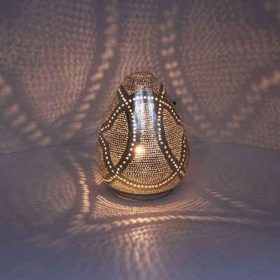Casa Moro Nachttischlampe »Orientalische Tischleuchte Rania D18 Silber aus echt versilbertes Messing, Handmade Vintage Lampe, ESL2120«