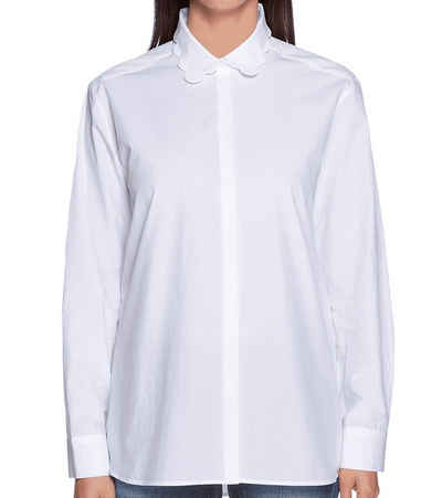Cinque Hemdbluse »CINQUE Ausgeh-Bluse trendige Damen Party-Bluse mit Wellen-Kragen Langarm-Bluse Weiß«