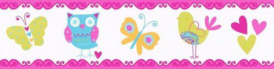 living walls Bordüre »Kids Party«, glatt, Borte mit Eulen, Vögeln und Schmetterlingen Kinderzimmer, selbstklebend