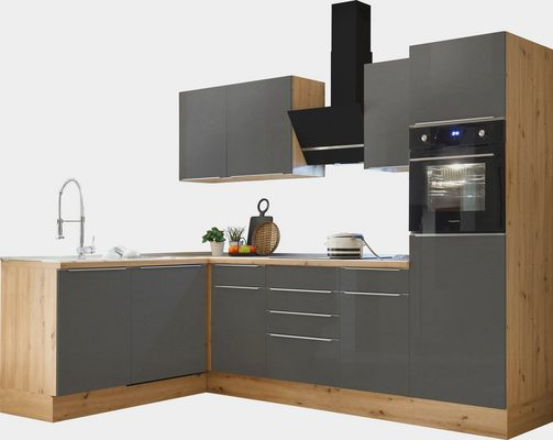 Winkelküche »Safado«, mit 2 E-Geräte-Sets zur Auswahl, hochwertige Ausstattung wie Soft Close Funktion, schnelle Lieferzeit, Stellbreite 280 x 172 cm