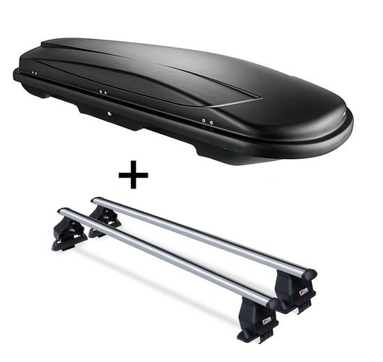 VDP Fahrradträger, Dachbox VDPJUXT500 500Ltr abschließbar schwarz + Alu Dachträger Menabo Tema kompatibel mit Volkswagen T-Cross (1C) (5 Türer) ab 18