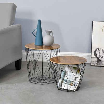 en.casa Beistelltisch (2-St), »Codogno« Couchtisch Metallkörbe 2er Set in verschiedenen Größen - Schwarz / Holz