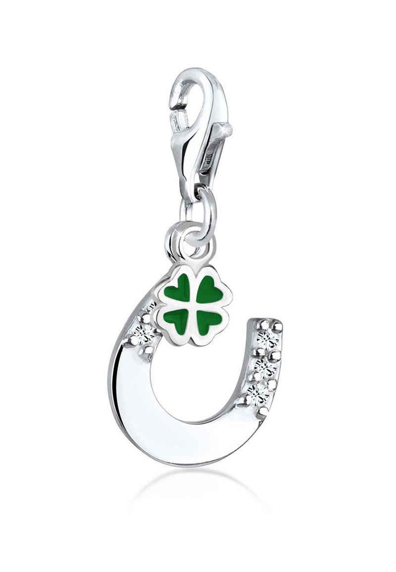 Elli Charm-Einhänger »Glücksbringer Kristalle 925 Silber«, Hufeisen