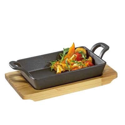 Küchenprofi Pfannen-Set »Servierpfanne Pfanne mit Holzbrett«, Gusseisen, Holz (2-tlg), Pfanne