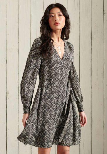 Superdry Wickelkleid »BOHEMIAN WRAP DRESS« mit langem Arm
