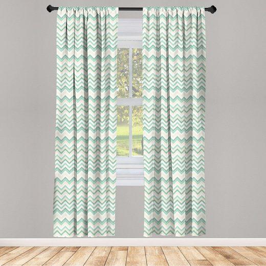 Gardine »Fensterbehandlungen 2 Panel Set für Wohnzimmer Schlafzimmer Dekor«, Abakuhaus, Wasser Verschwommene Zusammenfassung Zig Zag