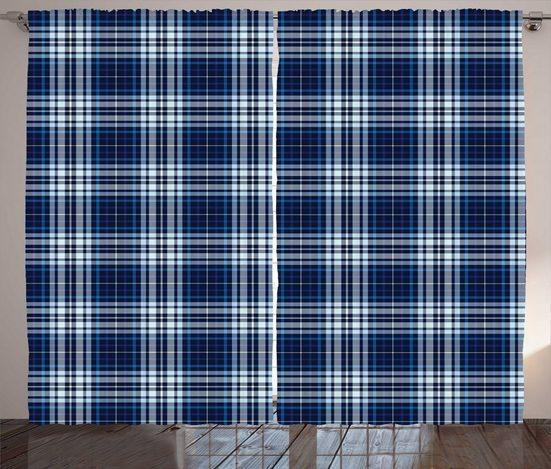 Gardine »Schlafzimmer Kräuselband Vorhang mit Schlaufen und Haken«, Abakuhaus, Marine-Plaid Abstrakte geometrische Kunst