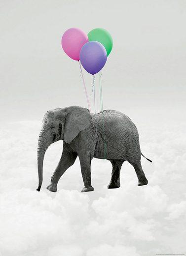IDEALDECOR Fototapete »Fliegender ElefantBallone«, BlueBack, 2 Bahnen, 183 x 254 cm