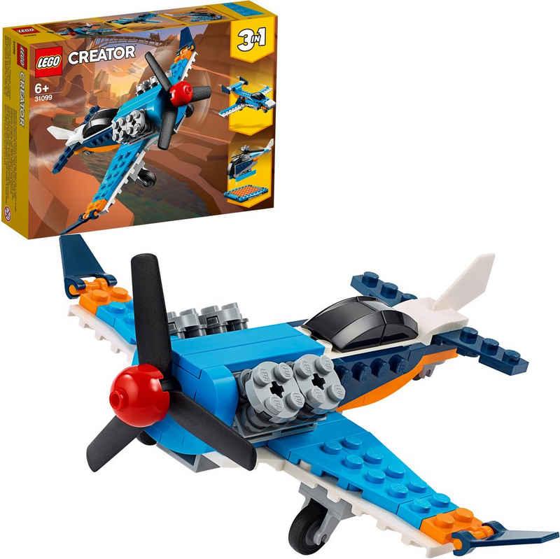 LEGO® Konstruktionsspielsteine »Propellerflugzeug (31099), LEGO® Creator 3in1«, (128 St), Made in Europe