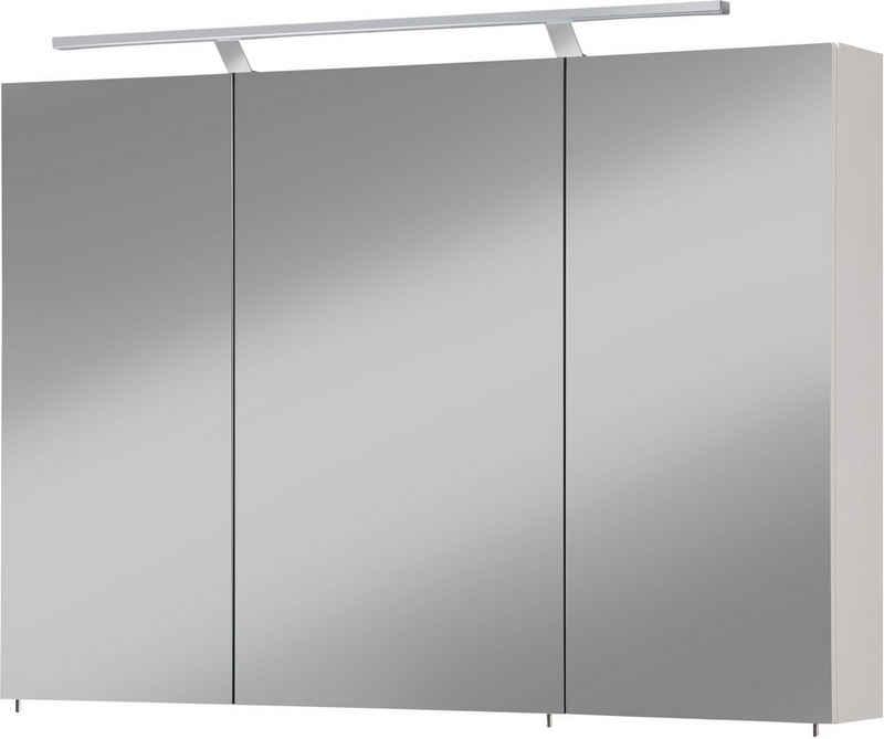 Schildmeyer Spiegelschrank »Torino« Breite 100 cm, 3-türig, LED-Beleuchtung, Schalter-/Steckdosenbox, Glaseinlegeböden, Soft-Close, Made in Germany
