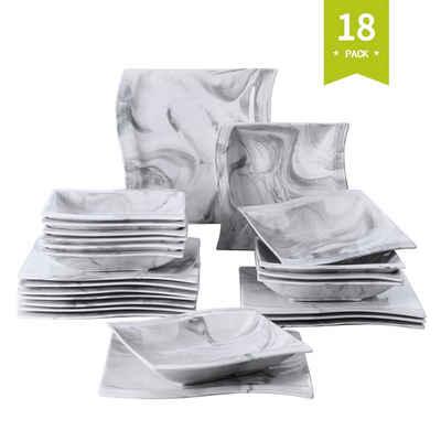 MALACASA Tafelservice »FLORA« (18-tlg), Porzellan, Marmor Porzellan Tafelservice 18 teilig Set