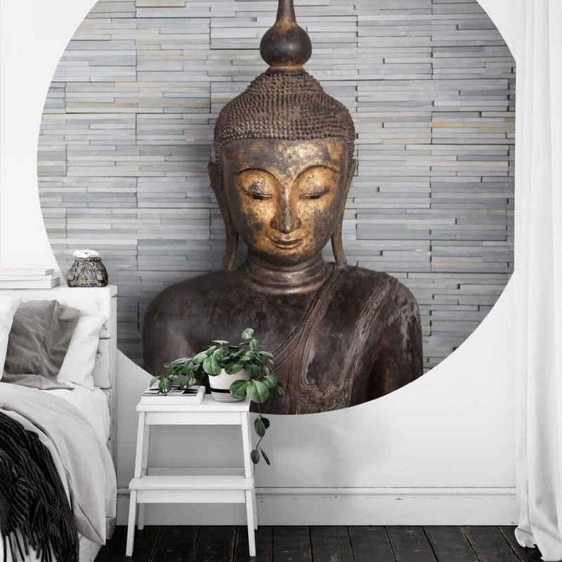 K&L Wall Art Fototapete »Runde Fototapete Feng-Shui Tapete Buddha Vliestapete Yoga Meditation Wand Deko«, Buddhastatue