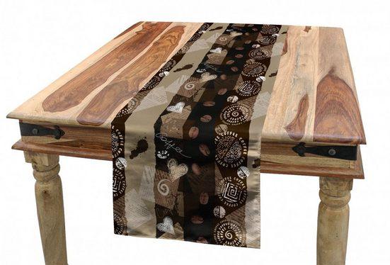 Abakuhaus Tischläufer »Esszimmer Küche Rechteckiger Dekorativer Tischläufer«, Braun Kaffee Typo Herzen Bohnen
