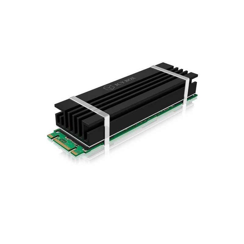 ICY BOX Mainboard »IB-M2HS-70 Kühlkörper«, ICY BOX M.2 Kühler mit 10 mm Bauhöhe für M.2 SSD (2280), Aluminium, 3x Silikon Wärmeleitpad, Silikon-Gummi Befestigung, passiv, abnehmbar, Schwarz Für größere Ansicht Maus über das Bild ziehen Kühler 10 mm Bauhöhe für M.2 SSD 2280, Aluminium, 3x Silikon Wärmeleitpad, Silikon-Gummi Befestigung, passiv, abnehmbar, schwarz