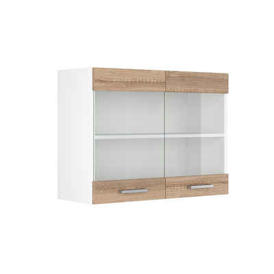 Vicco Hängeschrank »Hängeglasschrank 80 cm Küchenschrank Küchenzeile R-Line Sonoma«