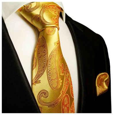 Paul Malone Krawatte »Herren Seidenkrawatte und Tuch modern paisley brokat 100% Seide« (Set, 2-St., Krawatte mit Einstecktuch) Breit (8cm), gold 517