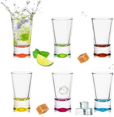 PLATINUX Schnapsglas »Shotgläser«, Glas, Set 6 Teilig bunt Schnapsgläser 2,5cl Tequilagläser Wodkagläser Pinnchen