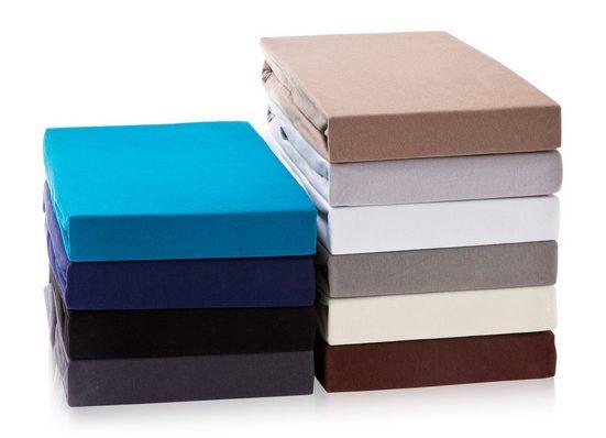 Spannbettlaken »Exclusive Spannbettlaken Spannbetttuch bis 25 cm Steghöhe, Bettlaken aus 100% Baumwolle, Premium Qualität - Feinste Baumwolle 160 g/m²«, Hometex Premium Textiles
