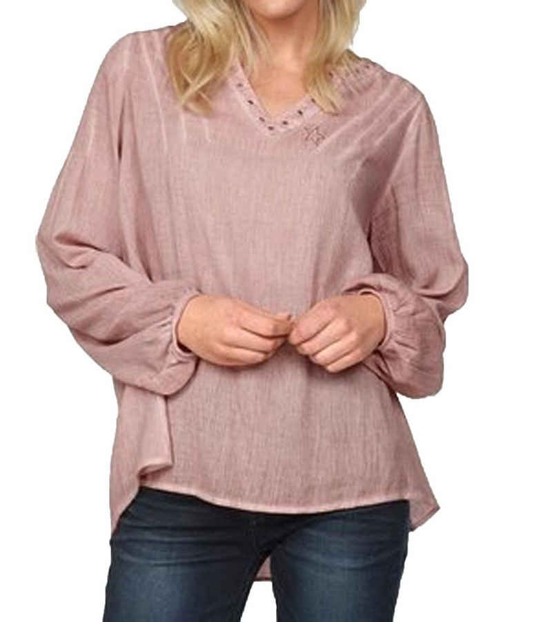 TIMEZONE Blusentop »TIMEZONE Tunika lässige Damen Bluse Freizeit-Shirt mit Stickerei und Abnäher Rosa«