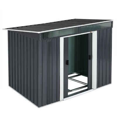 Gardebruk Gerätehaus, L Metall 3,4m³ mit Fundament 196x122x180cm 2 Fenster Anthrazit Geräteschuppen Gartenhaus