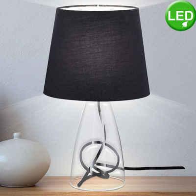 WOFI Tischleuchte, LED 3 Watt Tisch Leuchte Lese Energie Spar Lampe Beleuchtung Textil Glas Strahler