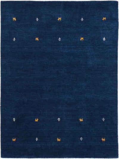 Wollteppich »Gabbeh Uni«, carpetfine, rechteckig, Höhe 15 mm, reine Wolle, handgewebt, Gabbeh Tiermotiv, Wohnzimmer