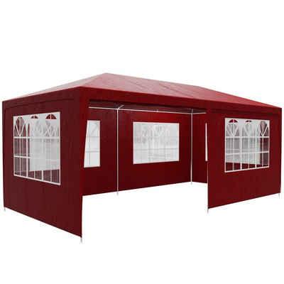 Casaria Partyzelt »Rimini«, rot 3x6m UV-Schutz 18m² Wasserabweisend 6 Seitenteile Pavillon Partyzelt Gartenzelt Festival