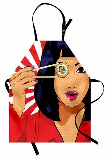 Abakuhaus Kochschürze »Höhenverstellbar Klare Farben ohne verblassen«, Sushi Pop-Art-Art-Mädchen mit Sushi