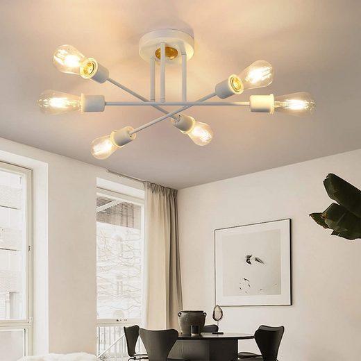 ZMH Deckenleuchten »Deckenlampe Vintage Deckenleuchte Retro 6 Flammig Wohnzimmerlampe Industrie E27 Kronleuchter Schlafzimmerlampe Industriellampe Esstischlampe Rustikal Stil (ohne Leuchtmittel)«