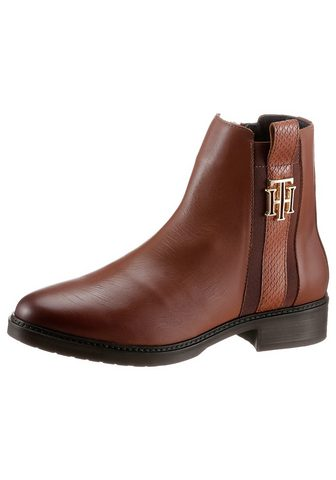 TOMMY HILFIGER »TH INTERLOCK LEATHER FLAT BOOT« aulin...