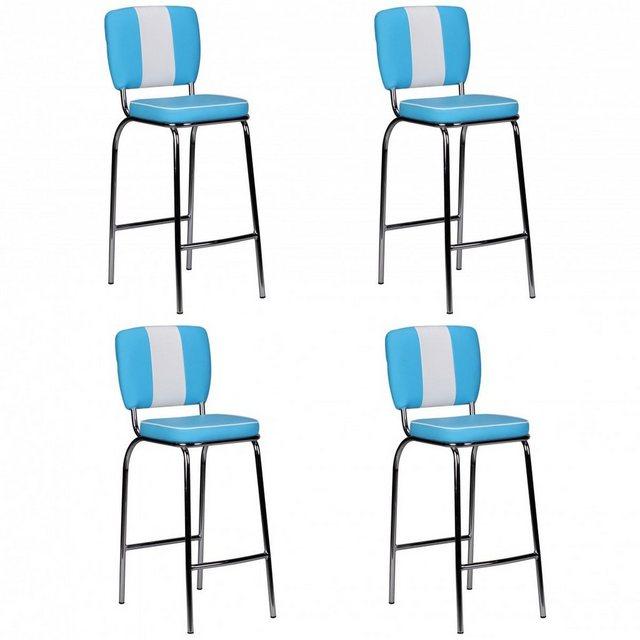 Barmöbel - FINEBUY Barhocker »SuVa2791 4«, 4er Set Barhocker KING American Diner 50er Jahre Retro Barstuhl Sitzfläche mit Rücken Lehne Fußstütze Sitzhöhe 76 cm  - Onlineshop OTTO