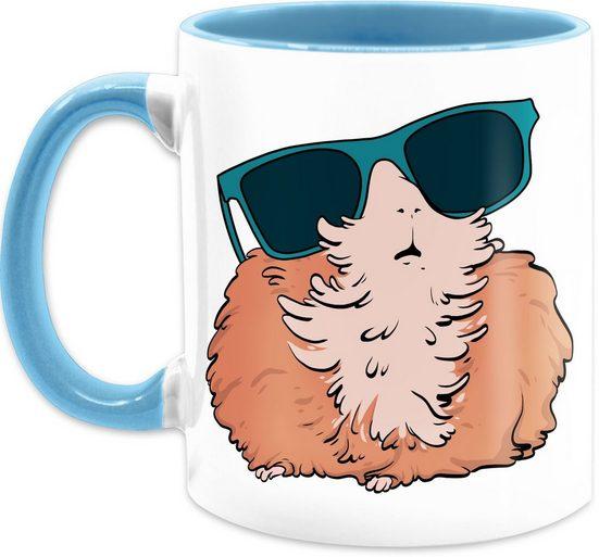 Shirtracer Tasse »Meerschweinchen mit Sonnenbrille - Kaffeetasse mit Spruch - Tasse zweifarbig«, Keramik, Statement Teetasse