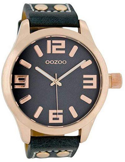 OOZOO Quarzuhr »UOC1157 Oozoo Damen Armbanduhr dunkelblau«, (Analoguhr), Damen Armbanduhr rund, Lederarmband dunkelblau, Fashion