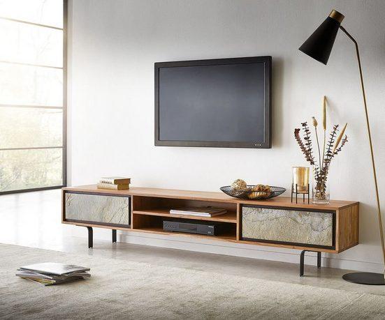 DELIFE TV-Board »Juwelo«, 200x35x40cm Akazie Natur Stein 2 Türen
