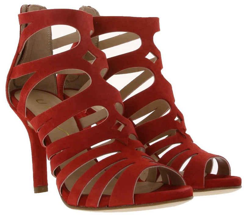 Unisa »UNISA Absatz-Sandalette elegante Damen Echtleder-Sandale aus Veloursleder Pumps Rot« Sandalette