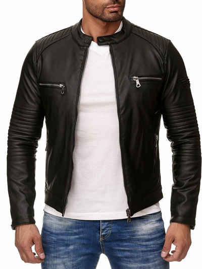 Reslad Lederimitatjacke »Reslad Kunstlederjacke Herren-Jacke Leder-Jacke« Biker-Design Jacke mit Zippern
