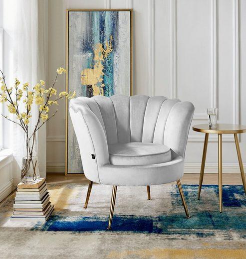 Home affaire Loungesessel »Kelsey«, mit einem schönen weichen Samtvelours Bezug, edlem Metallgestell, Sitzhöhe 43,5 cm